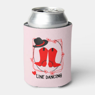 Cowgirl Boots Cute Line Dancing Theme Graphic Can Cooler