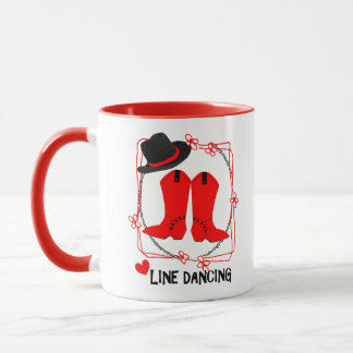 Cowgirl Boots Cute Line Dancing Theme Graphic Mug