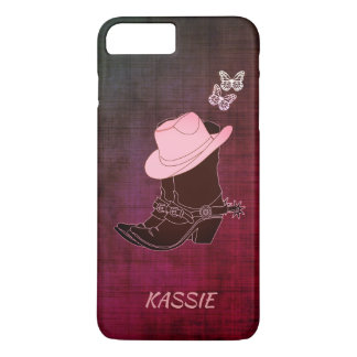 Cowgirl Boots Hat Butterfly Burgundy Personalized iPhone 8 Plus/7 Plus Case