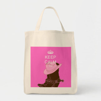 COWGIRL boots hat pink keep calm Tote Bag