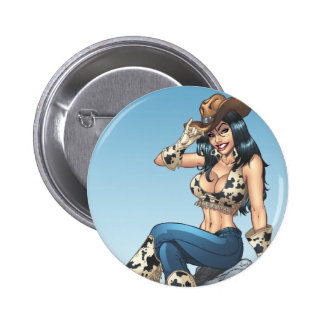 Cowgirl Country Girl Postage Stamp 2 by Al Rio Pinback Buttons