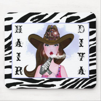 """Cowgirl Diva"" Hair Stylist Mouse Pad"