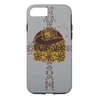 Cowgirl Flower Hat Yellow on Silver/Grey iPhone 7 Case