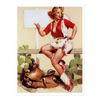 Cowgirl Hitch a Ride Pin Up Postcard