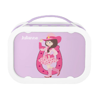 Cowgirl Horse and Cactus Lavender Lunch Box