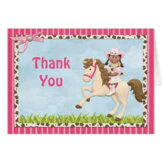 Cowgirl Horse Birthday Party  Thank You Card