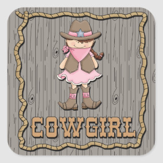 Cowgirl In Pink Square Sticker