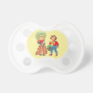 Cowgirl Kids On Yellow Check Background Pacifiers
