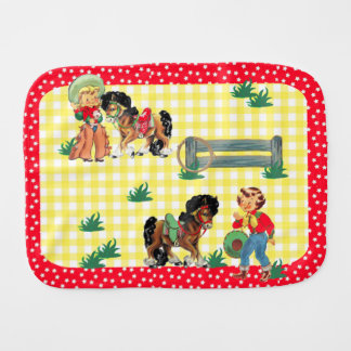 cowgirl Kids With Horses And Fence Burp Cloth