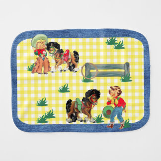 Cowgirl Kids With Horses And Fence Denim Print Burp Cloth