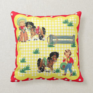 Cowgirl Kids With  Horses Western Baby Gift Cushion