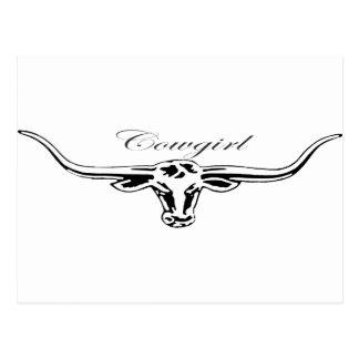 Cowgirl Longhorn Postcard