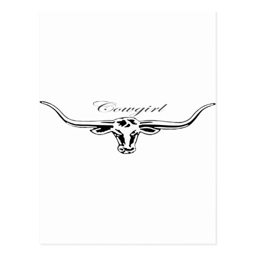 Cowgirl Longhorn Post Card