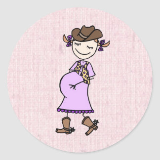 Cowgirl Mom To Be, pink Classic Round Sticker