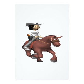 "Cowgirl On Horse 2 5"" X 7"" Invitation Card"