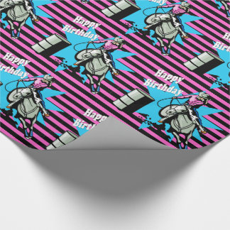 Cowgirl On Horse Barrel Racer Happy Birthday Wrapping Paper