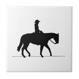 Cowgirl on Horse Tile