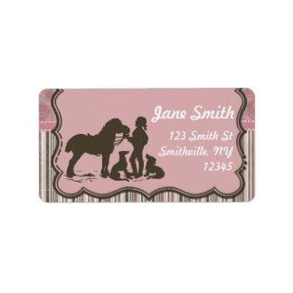 Cowgirl on Pink Address Label