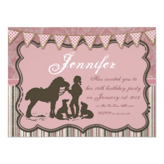 "Cowgirl on Pink 6.5"" X 8.75"" Invitation Card"