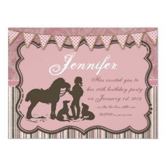 Cowgirl on Pink 17 Cm X 22 Cm Invitation Card