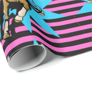 Cowgirl On Running Horse Happy Birthday Wrapping Paper