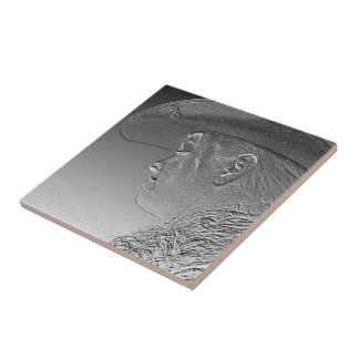 Cowgirl on silver metallic background tile