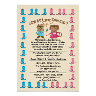 Cowgirl or Cowboy Gender Reveal Party Invitation