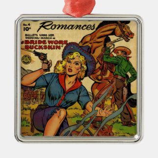 Cowgirl out on the Range Metal Ornament