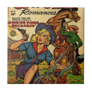 Cowgirl out on the Range Tile