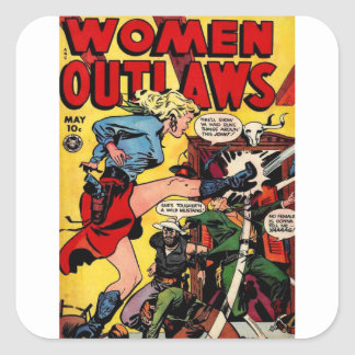 Cowgirl Outlaw Square Sticker