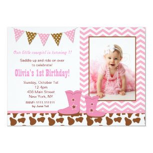 Cowgirl first birthday gifts on zazzle au cowgirl photo birthday invitations filmwisefo