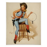 Cowgirl Pin-up Girl Poster