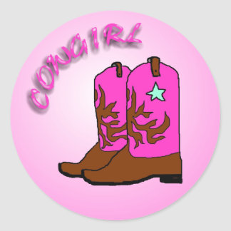 Cowgirl, Pink Boots Art Design Classic Round Sticker