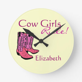 Cowgirl Pink Boots Round Clock