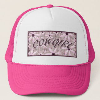 Cowgirl Pink Flowers Curved Trucker Hat