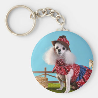 Cowgirl Poodle Key Ring