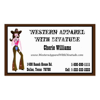 """Cowgirl"" Princess Pack Of Standard Business Cards"