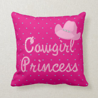 Cowgirl Princess Rope Text With Pink Cowgirl Hat Cushion