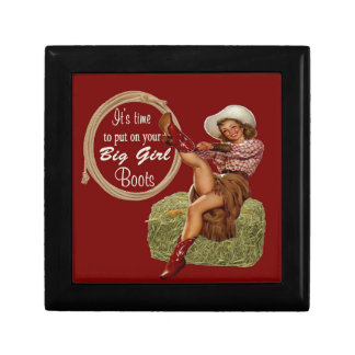 Cowgirl Put On You Big Boots Small Square Gift Box
