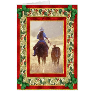 Cowgirl Quarter Horse Blank Christmas Card