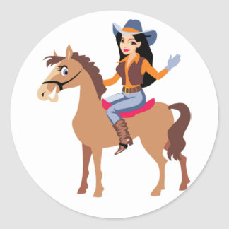 Cowgirl Riding A Horse Stickers