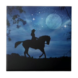 Cowgirl Riding Horse Art Fantasy Tile