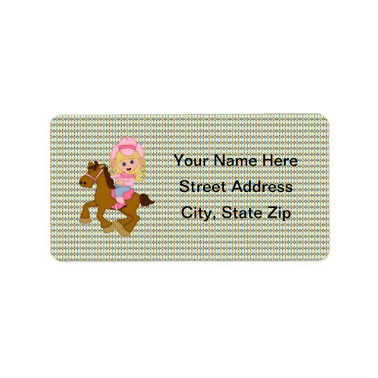Cowgirl Riding Horse (pink) Address Label