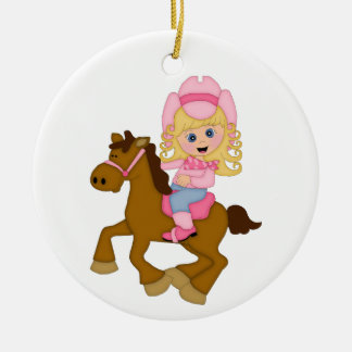 Cowgirl Riding Horse (pink) Ceramic Ornament
