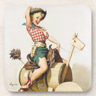 Cowgirl Riding Pin Up Coaster
