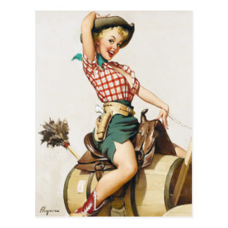 Cowgirl Riding Pin Up Postcard
