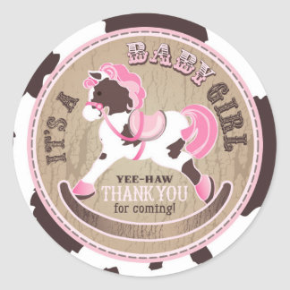 Cowgirl Rocking Horse Western Baby Shower Round Sticker