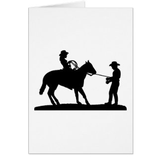 Cowgirl Roping Cowboy Card