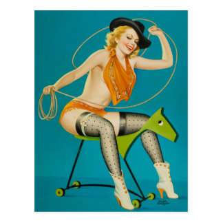 Cowgirl Roping the Horse Pin Up Postcard