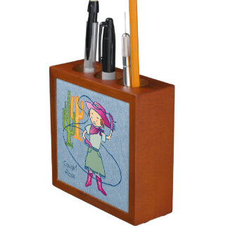 Cowgirl Rose Rodeo Champ Lasso Tricks Desk Organiser